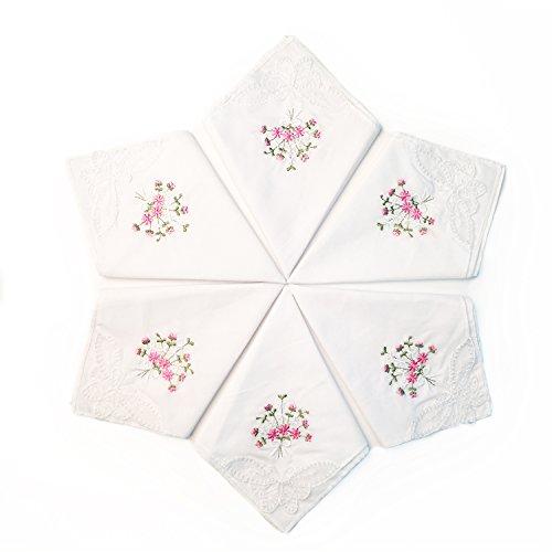 LULUSILK 6 Damen Stoff Taschentücher 100% Baumwolle mit Rosa Blumen Stickereien und Spitze Schmetterling Kante