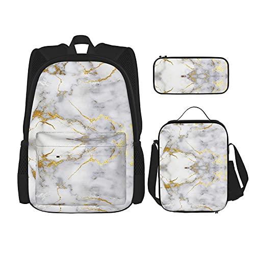 Mochilas de mármol blanco dorado para la escuela niños niñas 3 piezas mochila conjunto con bolsa de almuerzo lápiz caso
