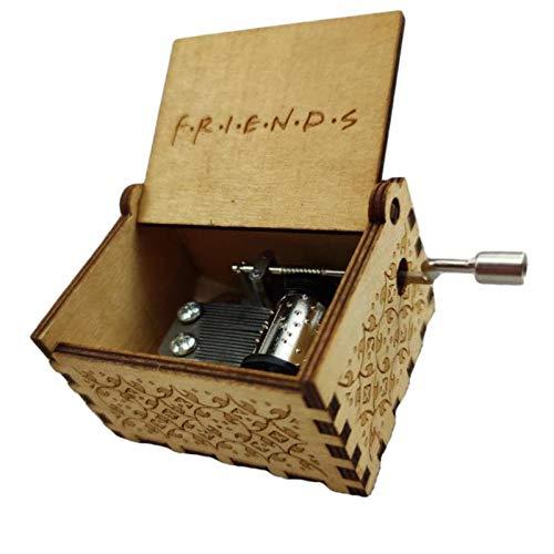 LANGM Caja De Música De Madera Vintage, Caja De Música Clásica con Manivela, Regalo para Cumpleaños, Navidad, Día De San Valentín, Decoración del Hogar, Manualidades