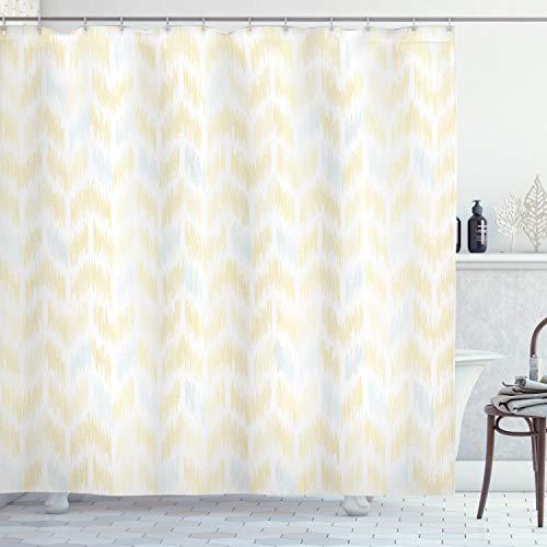 ABAKUHAUS gele Chevron Douchegordijn, Ikat stijl tegel, stoffen badkamerdecoratieset met haakjes, 175 x 200 cm, Marigold Pale Blue White