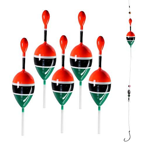 5 piezas de 5 x 5,28 pulgadas para pesca de agua salada de agua dulce flotadores para pesca de crappie Panfish Bass Trucha 5 piezas (5 piezas de color rojo y verde)
