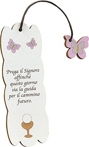Fabula Prima Comunione - Set pz 3 Segnalibri Personalizzabili (2,80€/pz) modello Frase su Legno con Pendaglio - dimensioni cm 5x15 - spessore mm 4 - Cod. 160155D