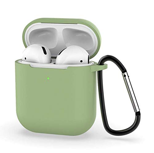 Airpods 2 Case Protective Airpods Cover Soft Silicone Chargeable Case Protective Silicone Skin Cover Case Earphone Sleeve Airpods Headphone Shockproof Case Anti-Lost Carabiner (Matcha Green)