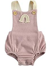 الوليد الصيف مضلع رومبير طفلة بلا أكمام قوس قزح نمط مربع طوق زر playsuit (Color : Pink, Kid Size : 18M)