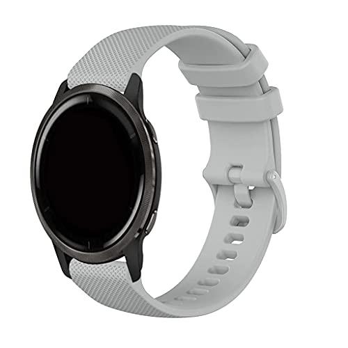 Bandas deportivas de silicona compatibles con Garmin Venu 2/Vivoactive 4 Watch Band Mujer Hombres, Pulsera de repuesto delgada y duradera compatible con Garmin Venu 2/Garminactive Straps - Gris