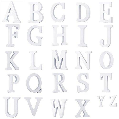 LEOFANS Weiße Holzbuchstaben A-Z Wörter für Hochzeitsgeschenk Dekoration