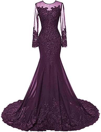 HUINI Abendkleider Lang Meerjungfrau Brautkleider Hochzeitskleid Chiffon Ballkleider Langarm Festkleid Mit Schleppe Traube 44