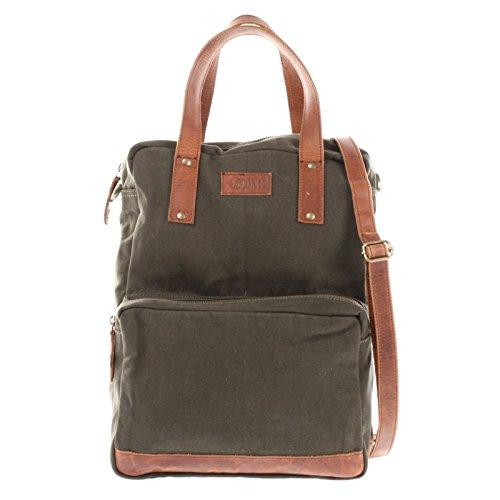 LECONI Rucksack & Umhängetasche in einem für Damen & Herren Retro Backpack Canvas + echtes Leder Bodybag DIN A4 Schultertasche 2in1 Freizeitrucksack 28x37x13cm LE1014-C, Grün / Braun, L