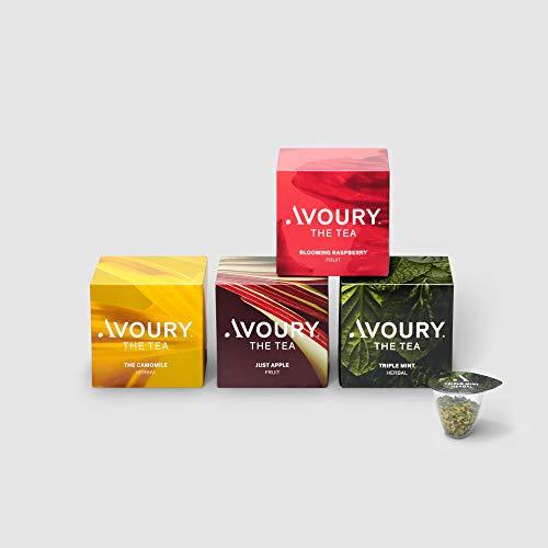 AVOURY Tee-Kapseln Bundle Fruit & Herbal Infusion: 4 Teesorten zum Ausprobieren, Früchtetee & Kräutertee, 4 x 8 Kapseln