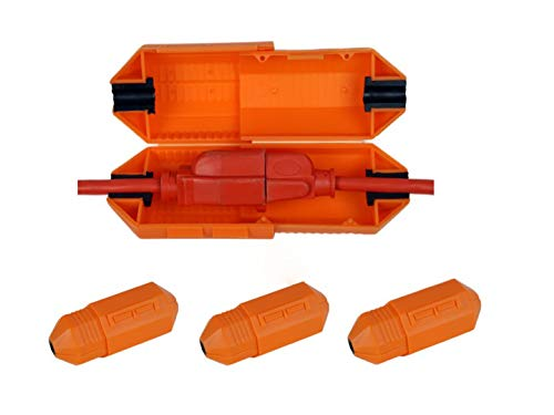 3 PK Orange Extension Cord Safety Cover Connector with Water-Resistant Seal for Cord Management