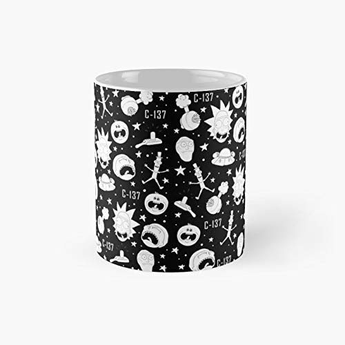 Black And White Rick Morty Pattern Classic Mug Best Gift Funny Coffee Mugs 11 Oz