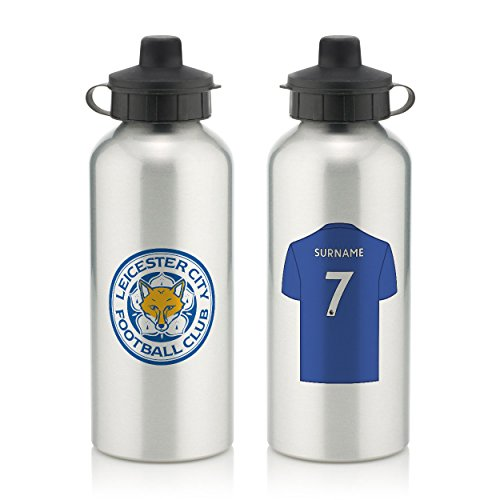 Official PERSONALISED Leicester City FC Aluminium Silver Water Bottle with Spring Hook (600ml)