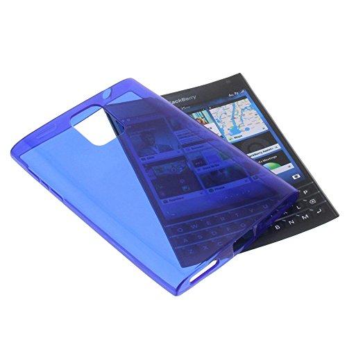 foto-kontor Tasche für BlackBerry Passport Gummi TPU Schutz Handytasche transparent dunkblau