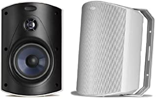 Polk Audio Atrium 6 Outdoor Speakers with Bass Reflex Enclosure (Pair, White) - All-Weather Durability | Broad Sound Coverage | Speed-Lock Mounting System
