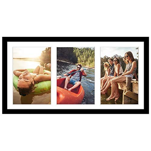 Americanflat 8x16 Black Collage Picture Frame | Displays Three 5x7 inch Photos. Lead Free Glass. Hanging Hardware Included!