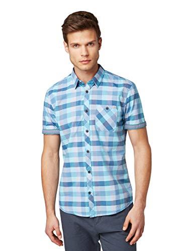 TOM TAILOR für Männer Blusen, Shirts & Hemden Kariertes Hemd Blue Turquoise Bright Check, M