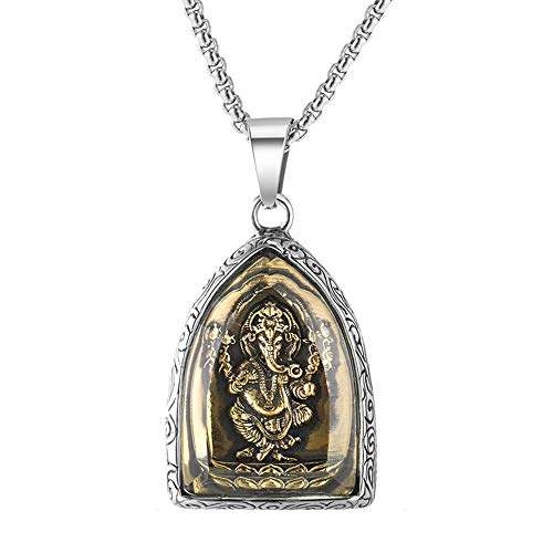 Stainless Steel Vietnam Sand Golden Elephant Buddha Pendant Necklace Jewelry Animal Elephant God Necklaces Jewelry Gift For Him 60cm