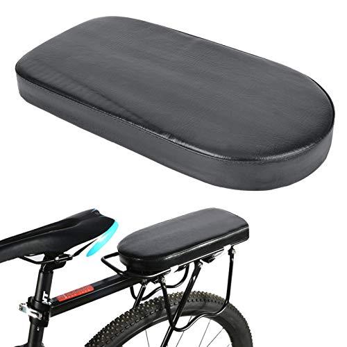 FOLOSAFENAR Asiento Trasero de la Bici del cojín Suave Ancho de la Bici de la Esponja Gruesa cómoda, para la Bici(Semicircular Seat Plate (Black))