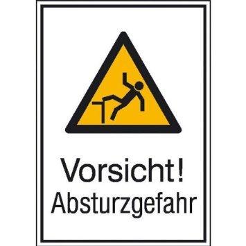 INDIGOS UG - Vorsicht! Absturzgefahr Warnschild, selbstklebende Folie, 13,10x18,50 cm