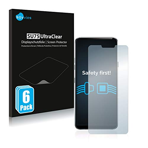 savvies 6-Pezzi Pellicola Protettiva Compatibile con LG G7 ThinQ/Plus ThinQ/LG G7 Fit/LG G7 One Protezione Schermo Trasparente