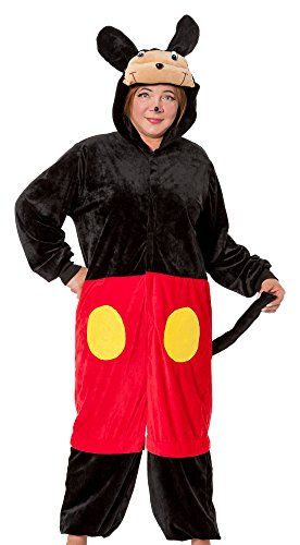 spass42 Damen Minnie Kostüm Micky Plüsch Overall Maus Anzug Tier Verkleidung Karneval Fasching Groesse: L/XL