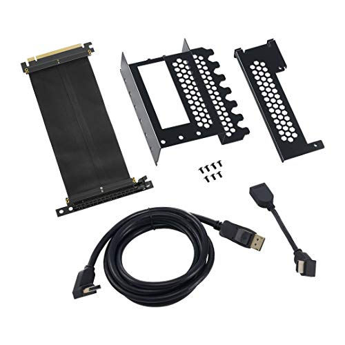 CableMod CM-VPB-HDK-R Vertikaler Grafikkartenhalter mit PCIe x16 Riser Kabel, 1 x DisplayPort, 1 x HDMI, Schwarz (Komponenten > Video-Grafikkarten)