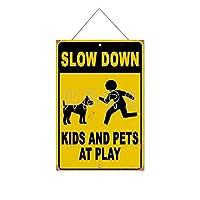 遊びで子供とペットを遅くする木製のリストプラーク木の看板ぶら下げ木製絵画パーソナライズされた広告ヴィンテージウォールサイン装飾ポスターアートサイン