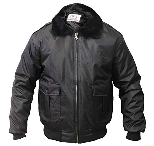 First Class 100% Nylon Oxford Watch-Guard Bomber Jacket (Black)-Large