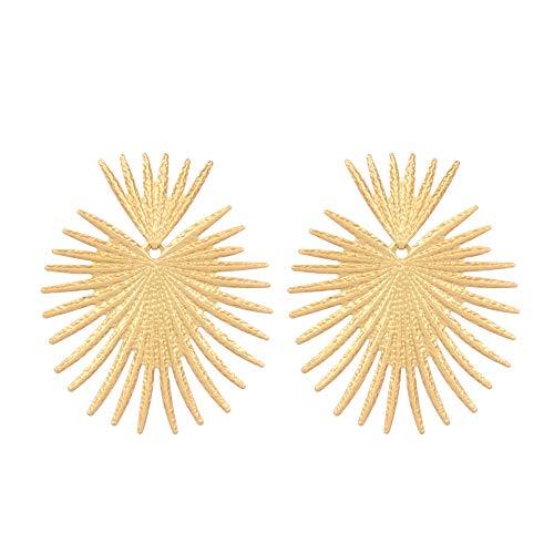 EHDZHPL Fashion onregelmatige oorbellen vrouwen, overdreven ventilator blad metalen oorbellen nieuw