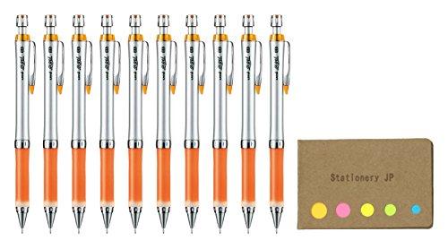 Uni Alpha Gel Shaker Mechanical Pencil Slim Model 0.5 mm, Orange Body, 10-pack, Sticky Notes Value Set