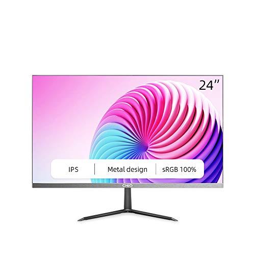 """CHiQ Monitor de 24"""" Full HD (1920 x 1080) LED, IPS, 5 ms, 3 Lados sin Bordes, Ultra Slim, HDMI, DP, VGA, Filtro luz Azul, Flicker-Free, Freesync, Compatible con Soporte VESA 2021"""