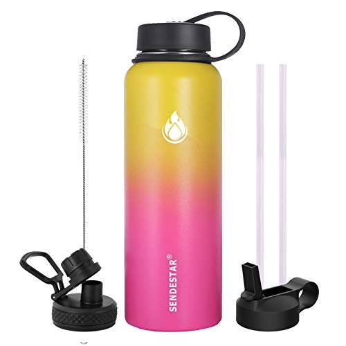 SENDESTAR 32 oz Double Wall Vacuum Insulated Leak Proof Stainless Steel Sports Water Bottle—Wide...