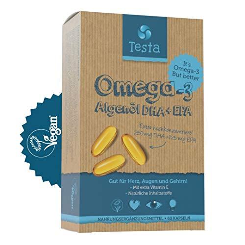Testa Omega-3 Kapseln vegan – Mit DHA- und EPA-Fettsäuren aus Algenöl – 100 % pflanzlich – Plus Vitamin E – 60 Softkapseln