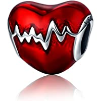 Abalorio para colgar inspirado en los latidos de un corazón, fabricado con Plata de ley 925, compatible con pulseras Pandora y pulseras europeas