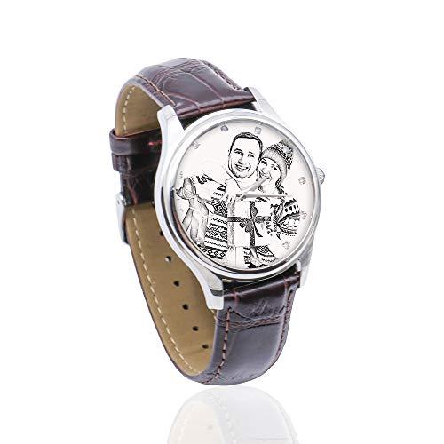 Personalisierte Foto-Legierung Uhr Bild gedruckt Armband Uhr benutzerdefinierte Geburtstag Vatertag Jubiläumsideen für Paare Männer Frauen(Braun2-Skizze-Männer 26cm)