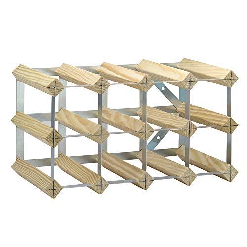 Estante para vino de madera y metal | Bastidor industrial 4x2 | 10-12 botellas de capacidad | Champaña, vino y botellas de alcohol | M&W