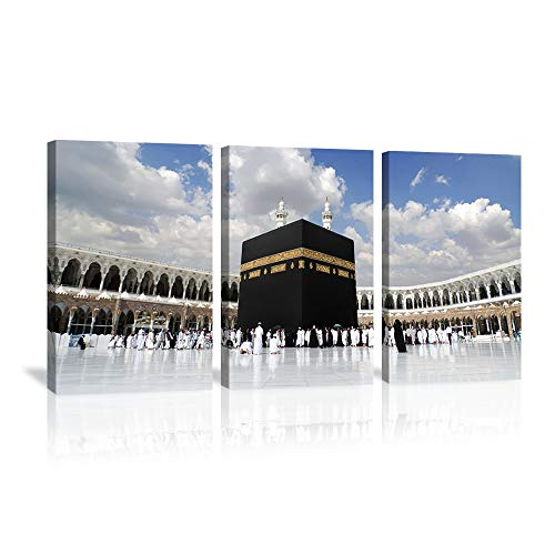 KALAWA Islamic Religion Wall Art Muslim Worship Painting Arabic Religion Activity Posters Religional Artwork Islamic Architecture Home Wall Decor Prints Pictures 3 Panels for Living Room Framed Ready to Hang