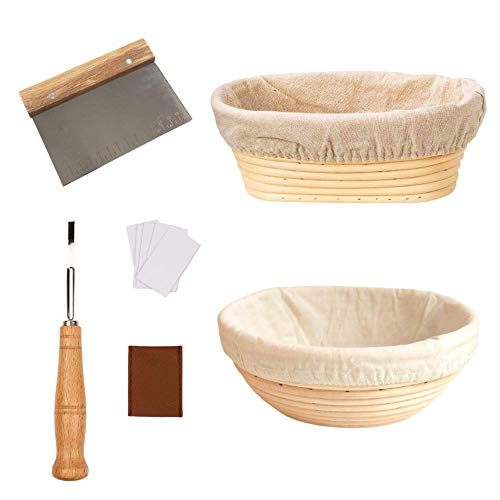 Banneton Proofing Basket for Sourdough Set of 2-9.8 inch Round and Oval Bread Proofing Basket with Dough Scraper, Bread Lame, & Linen Liner for Bread Making- Gift Idea for Artisan and Home Bakers