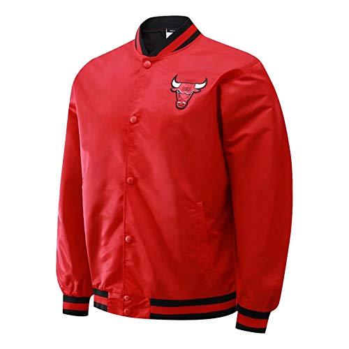 ZCGY Chicago Bulls Basketballjacke für Männer und Frauen, Schwarze Baseballjacke Unisex Uniform Mantel Langarm Retro Basketball-Hemd (S-XXL) red-XXL