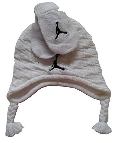 Nike Jordan Jumpman - Juego de 2 manoplas y gorro de invierno para niños, color blanco, talla 12/24 m