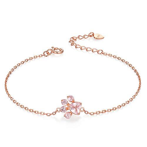 HJPAM 925 sterling zilveren armbanden voor vrouwen natuurlijk hart roze kwarts rose gouden ketting bedelarmband fijne sieraden
