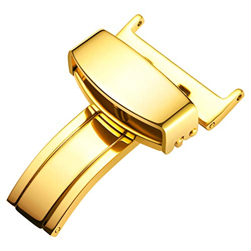 BINLUN Acero Inoxidable Plata Oro Oro Rosa Negro Plegable Hebilla de despliegue...
