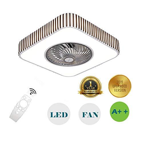 Bluetooth App Deckenventilator Deckenleuchte, Unsichtbare Stummschaltung Nach Hause Mit Elektrischem Ventilator LED Schlafzimmer Licht Einfache Deckenleuchte (Quadrat)