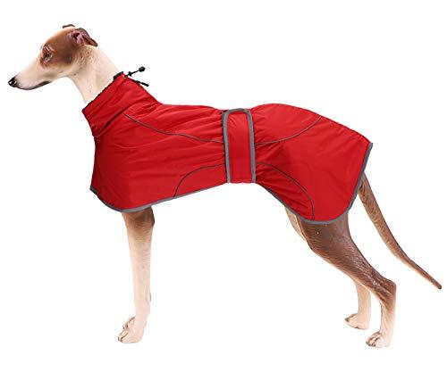 Geyecete Abrigo de invierno para perro con forro polar cálido, ropa para perro al aire libre con bandas ajustables, ropa de perro de alta calidad para perro mediano, grande, galgo, rojo -XS