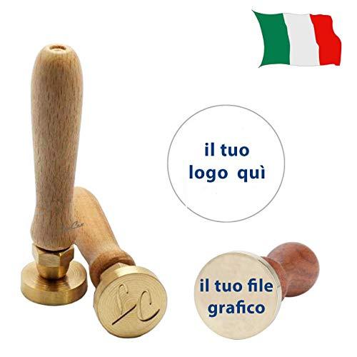 Timbro sigillo per ceralacca personalizzato per lettera, busta, biglietto matrimonio, regalo laurea (30mm, Con Iniziali)