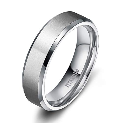 TIGRADE Titanium Rings 4MM 6MM 8MM 10MM Wedding Band in Comfort Fit Matte for Men Women, Silver, 6MM, Size 10.5