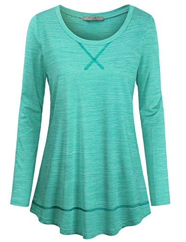 Cestyle Yoga Shirts for Women, Lady Athleisure Wear Round Neck Long Sleeve Fashion 2019 Athletic Tunic Breathable Jersey Exercise Tees Casual Blouses Green XXL