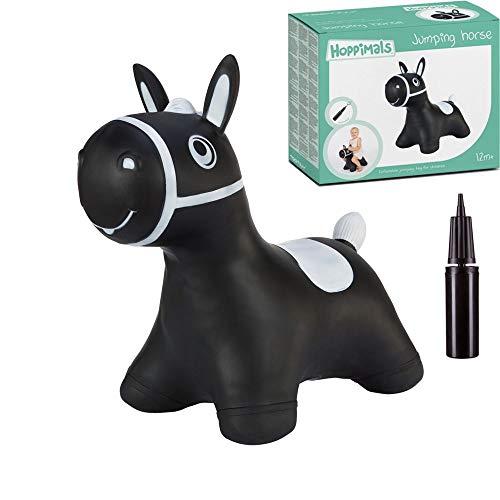 Hoppimals Tootiny Hüpfende Pferd Space Hopper für Kinder - Hüpftier ab 1 Jahr und älter - Verpackt im Geschenkkarton, inklusive Pumpe - Reiten auf aufblasbaren Tieren, Baby-Hüpfer – SCHWARZ