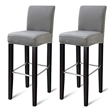 MOCAA Dining Chair Covers,Bar Stool Chair Covers Barstool Slipcovers 2 Pack,M023  Light Grey