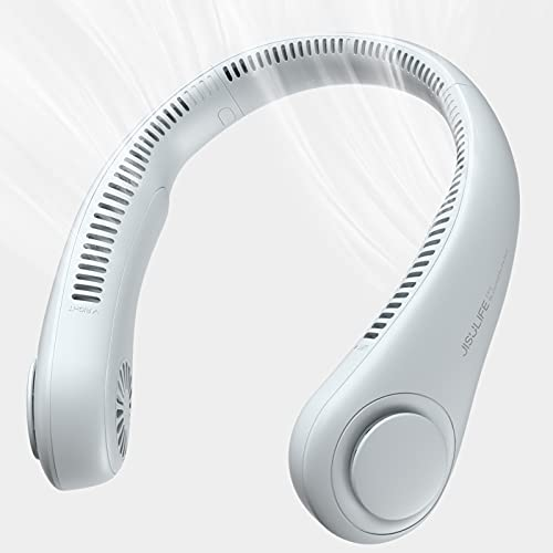 JISULIFE Portable Neck Fan, Hands Free Bladeless Fan, 4000 mAh Battery Operated Wearable Personal Fan, Leafless, Rechargeable, Headphone Design, USB Powered Desk Fan,3 Speeds-Grey